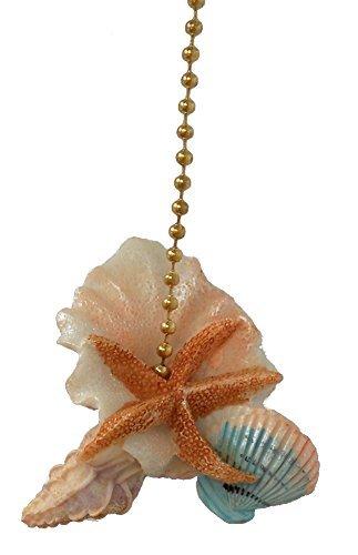 Seashell Fan Pull - Starfish Seashells Sea Shell Beach Fan Light Pull