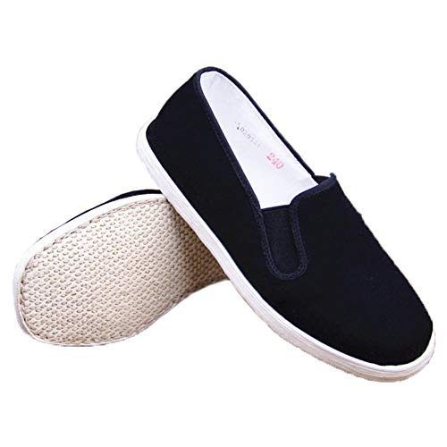 Qinju Traditional Chinese Handmade Martial Kung Fu Taichi Shoes Slip On Cotton Laobeijing Cloth Flat Sole Diving Shoe Home Feet Health Black (Black B, US 6.5)