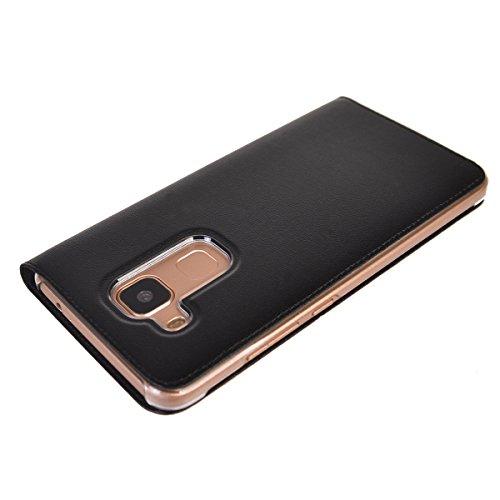 Huawei Nova Plus Funda,COOLKE Diseño de ventana Flip Funda Con Soporte Plegable Carcasa Funda Tapa Case Cover para Huawei Nova Plus - Negro Negro