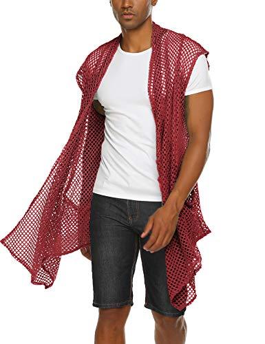 COOFANDY Men's Ruffle Shawl Collar Cardigan Lightweight Mesh Fishnet Long Length Drape Cape (Wine Red(Sleeveless), XX-Large)