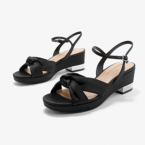 Mujer Punta Tacones Zapatos Talón Bajo Retro Bloque Sandalias Gruesas Casuales Sandalias Abierta Verano Fiesta Zapatos De Negro WYYY Torcida Temporada Bajos De Playa Cruz De FEFxO