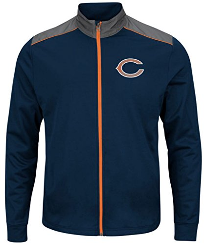 Chicago Bears NFL Mens Majestic Therma Base Tech Team Full Zip Track Jacket Navy Blue Size 5XL