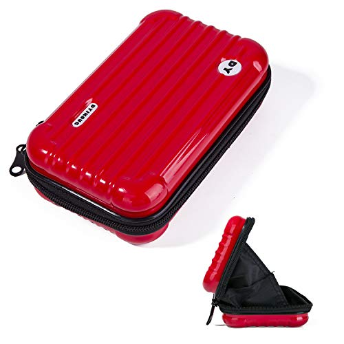 Beauty Makeup Travel Carrying Cosmetic Handbag Waterproof Organizer Pouch Toiletry Storage Multifuncition Carry Bags with Hand Strap for Women Girls, Mini Trolley Case Shape Clutch (Red)