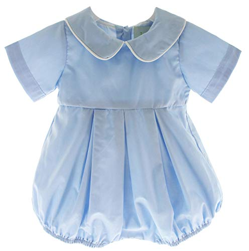 Hiccups Childrens Boutique Boys Blue Bubble Outfit Peter Pan Collar Dressy Dedication Romper 3M]()