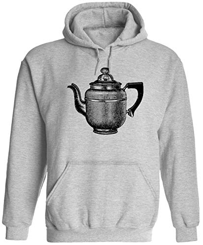 Old Tea Pot Unisex Adult Hooded Pullover Sweatshirt, Ash, M (Teapot Hood)