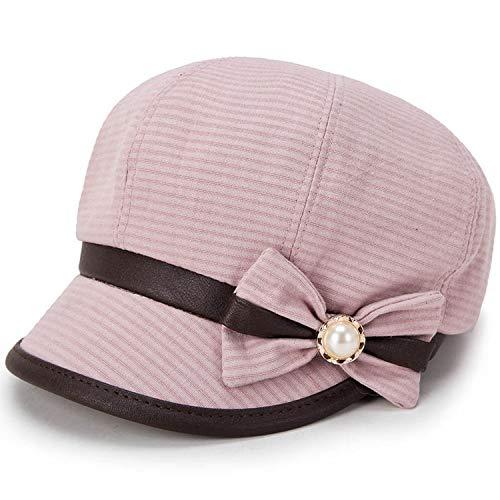 Retro Wool Blend Newsboy Cap Beret Plaid Bow Octagonal Hat for Men Women Cap Pink