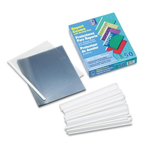 C-Line Report Covers with Binding Bars, Clear Vinyl, White Bars, 8.5 x 11 Inches, 50 per Box (32557) ()
