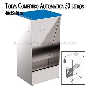 COMEDERO AUTOMATICO para dosificación de pienso para PERROS en Chapa Galvanizada. Medidas 40x35x80