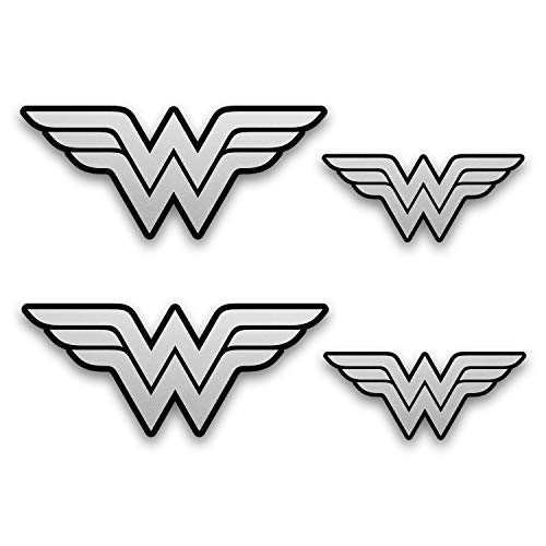 Metallic Silver Wonder Woman Emblem Stickers. 4 Pack of Decals (2 + 2). Superhero Decal - Two 5.5