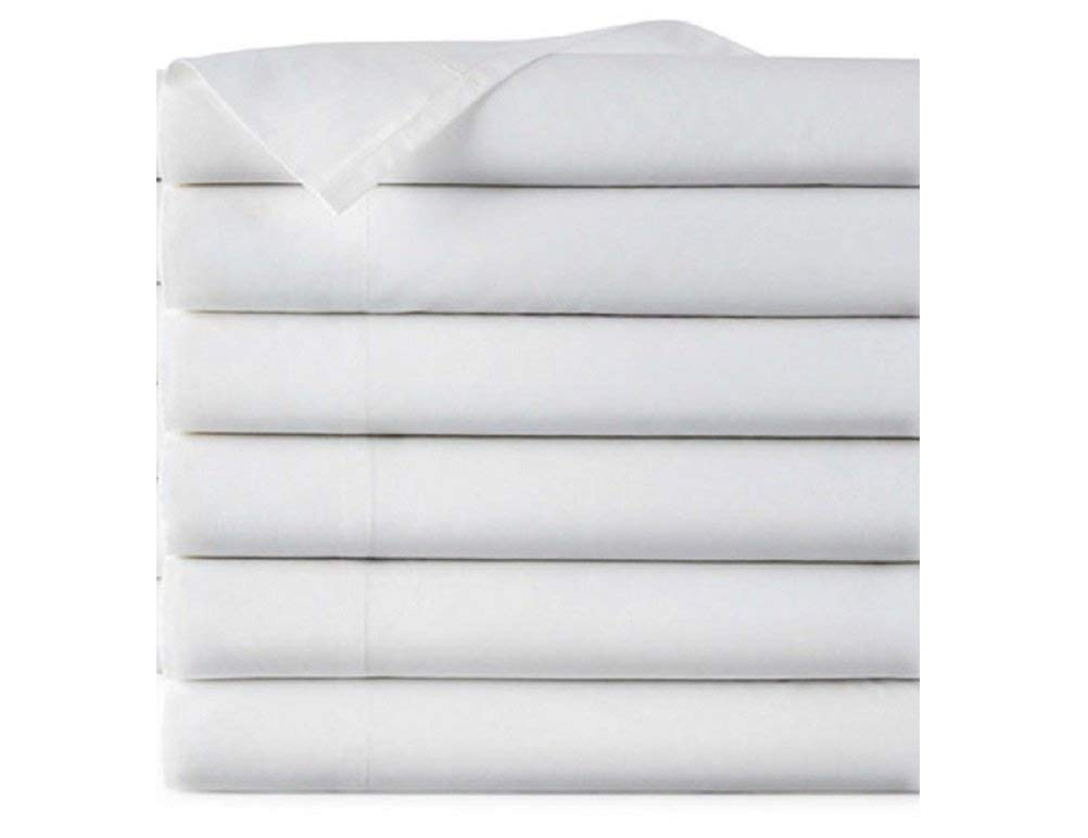 EOM Linens Twin Size Flat Sheets, T180 Thread Count Cotton/Poly, 66x104 in,White, (Pack of 6) Great for Home, Salons, Spas, Hotel, Institutional & Hospital use.