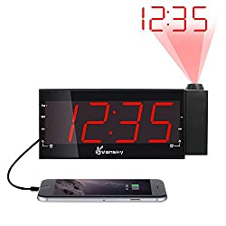 Vansky Digital Projection Alarm Clock Radio with Dimmer, 1.8 LED Display,USB Charging,Dual Alarm,Snooze,Battery Backup for Heavy Sleepers