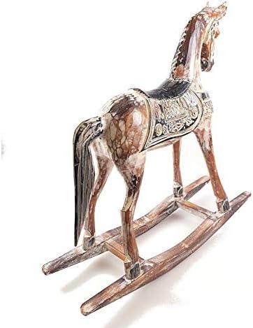 Cheval à bascule en bois 60cm statue décoration rétro vintage.