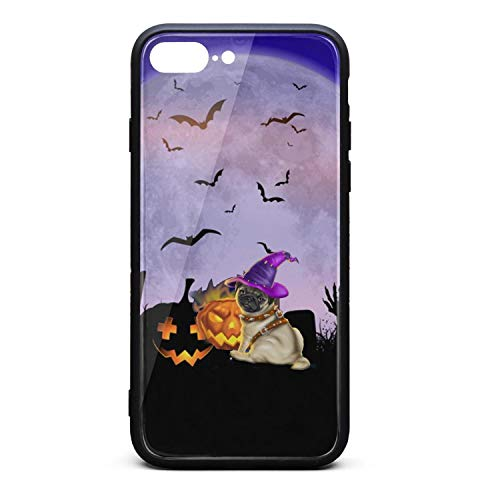 Witch Pug Halloween bat Pumpkin Fancy Skin Cute Mobile iPhone 7/8 Plus case Cover ()