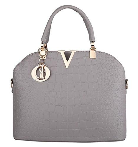 XMLiZhiGu Women's PU Leather Tote Shoulder Crossbody Bag Top-Handle Handbag Grey Bag
