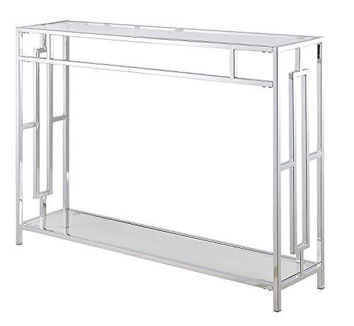 Convenience Concepts 135099 Town Square Console Table, Clear Glass/Chrome Frame