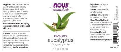 NOW Eucalyptus Essential Oil, 4-Ounce, 2 count