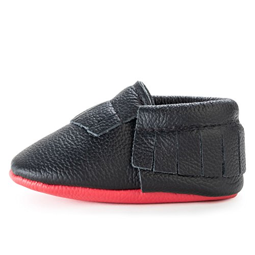 BirdRock Baby Moccasins - 30+ Styles for Boys & Girls! Every Pair Feeds a Child (US 5.5, Black and Red)