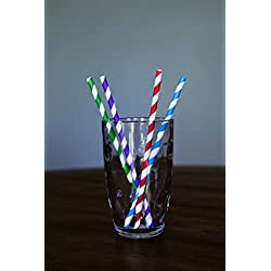 Striped Paper Straw Mix – 200 Colorful Straw Mix – Paper 100% Biodegradable Paper Stripped Straws – Fun and Cute Paper Straws – Come in 4 Colors – Great for Parties