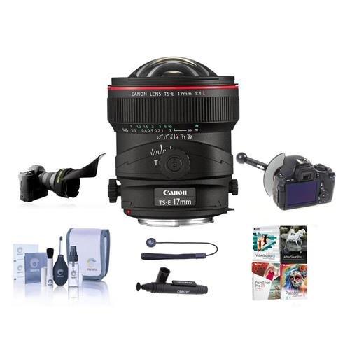 Canon TS-E 17mm f/4L Tilt-Shift Manual Focusing Lens for EOS - USA - Bundle with FocusShifter DSLR Follow Focus & Rack Focus, Flex Lens Shade, Cleaning Kit, LensPen Lens Cleaner, -