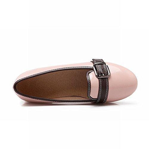 Latasa Kvinna Mode Faux Lack Låg Tjock Klack Slip På Munken Rem Loafers Skor Rosa