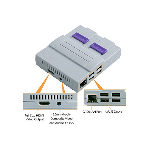 SNES Case for Raspberry Pi 3 B, 2 and B+,with Functional POWER and RESET Button and HeatSink,Retro Games Super NES Classic Case by Easyget (Image #2)