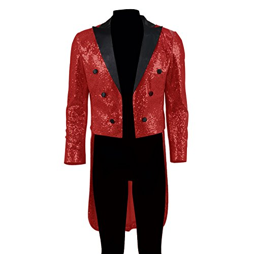 [Sequin Tail Coat Formal Dress Jacket For Men (XXX-Large, Red)] (Sequin Tailcoat Costume)