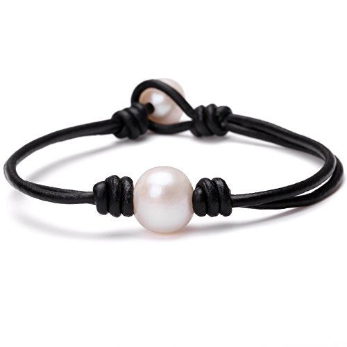 Single Cultured Freshwater Pearl Bracelet Handmade Leather Pearl Jewelry for Women by Aobei 7'' Black ()