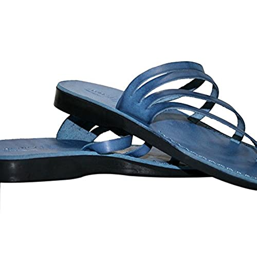 821326529ddc6 Blue Rainbow Leather Sandals For Men & Women - Handmade Unisex ...