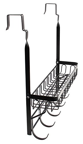 ESYLIFE Over the Door Hooks Organizer with Basket Hanging Storage Rack with Towel Bar, Black by Esy-Life