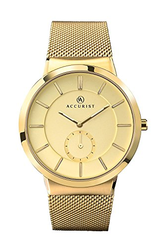 Accurist Men's Quartz Watch Gold Dial Gold Stainless Steel Bracelet 7015