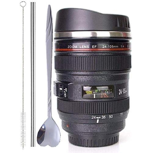Coffee Mug,Camera Lens Cup with Sipping Lid,Super Bundle(Spoon+Straw+Brush),Insulated Stainless Steel Travel Mug,Beer Tumbler,Photographer Tea Cup,Novelty Gifts for All Festival,by Triumphic