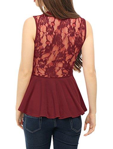 Allegra K Mujer Top Camiseta Sin Mangas de Encaje con Sobrefalda Rojo