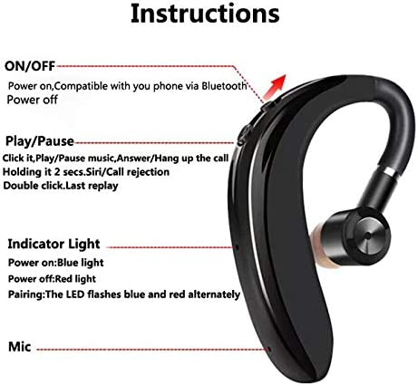 SPARKE Bluetooth Headset 10-Minute Quick Charge Wireless Earpiece with 18 Hours Playtime Car Headset with Mic for Smart Phones Black