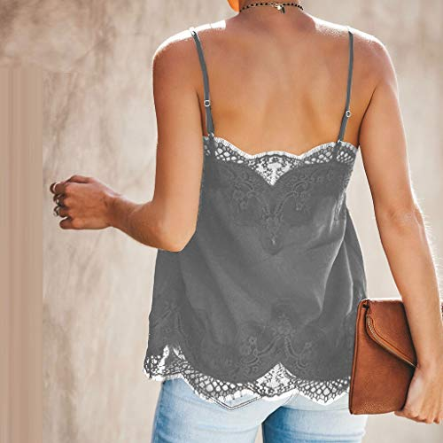 NUWFOR Fashion Women Strappy Vest Top Sleeveless Lace Patchwork Blouse Casual Tank Gray by NUWFOR (Image #2)