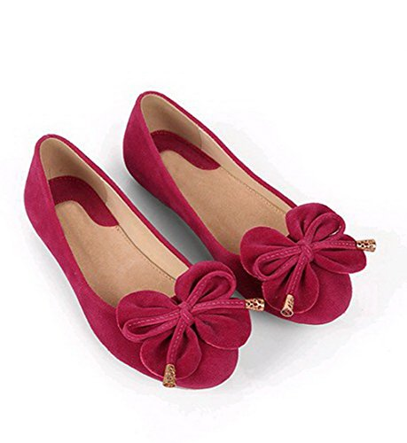 Aalardom Vrouwen Pull-on Ronde-teen No-hak Massief Frosted Flats-schoenen Rosered