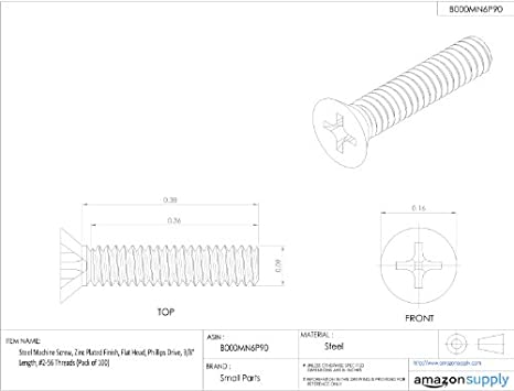 Steel Machine Screw Zinc Plated Finish Flat Head Phillips Drive