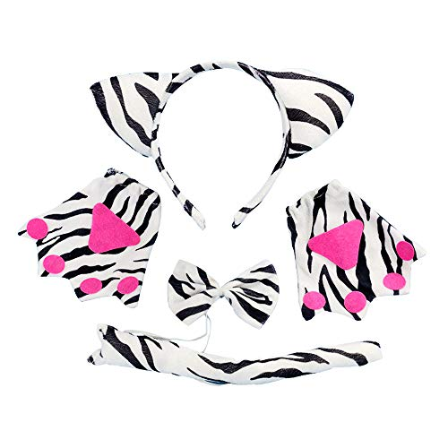 Cosplay Costume Set 5 Pcs Kids Cosplay, Ears Headband, Tail, Collar, Paws, Gloves(Zebra) -