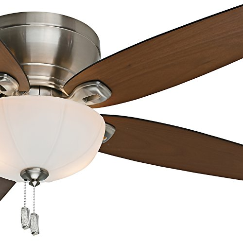 Casablanca Fan 54 inch Low Profile Brushed Nickel Indoor Ceiling Fan with Light Kit and Pull Chain (Certified Refurbished) ()
