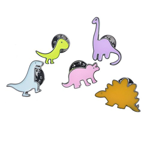 MJartoria Animal Cactus Dinosaur Patch Cartoon Brooch Pin Badges Set for Clothes Bags Backpacks (Dinosaur 5PCS)
