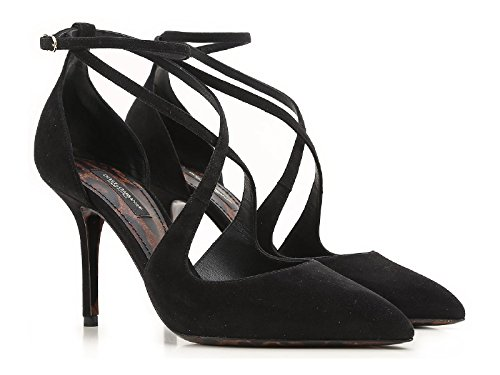 - Dolce & Gabbana Women's Black Suede Leather High Heel Sandals Shoes - Size: 7 US