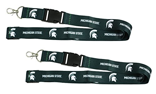 Michigan State Spartans Cloth Lanyard Key Chain 2-Pack