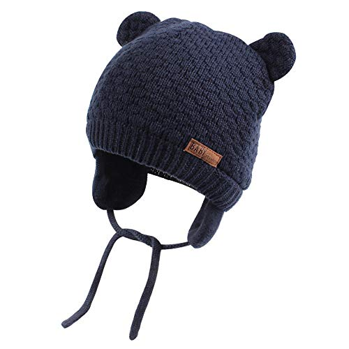 XIAOHAWANG Warm Baby Hat Cute Bear Toddler Earflap Beanie for Fall Winter (7-15Months, Navy)