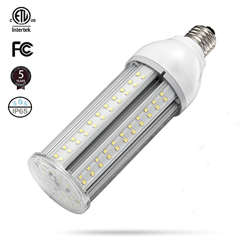 (24W LED Corn Light Bulb E26 Medium Screw Base, 5000K Daylight 75-100w HPS Metal Halide HID Lamp LED Replacement for Garage Street and Area Light Patio Backyard Basement Barn Workshop Post Top)