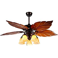 Andersonlight Ceiling Fan 5 Light 5 Blades, Reversible Quiet Fan Chandelier, For Bedroom Living Room Dining Room Fan Light, Antique Bronze, 52-Inch (Tropical)