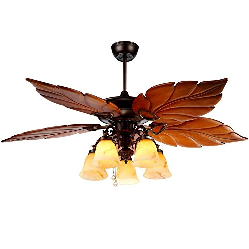 AndersonLight Wood Ceiling Fan Light 5 Blades 5 Lights Wooden Palm Leaf Fan Light Lamp, Tropical Indoor / Outdoor Large Quiet Ceiling Fan Chandelier, Home Remote Rustic Ceiling Fan, Bronze, 52 Inch ()