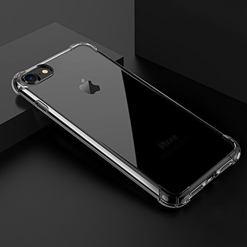 iPhone 7 Case, iPhone 8 Case, Crystal Clear Shock Absorption Technology Bumper Soft TPU Cover Clear Case bundle + Glass Pro Premium Tempered iPhone 7 Screen Protector, iPhone 8 screen protector