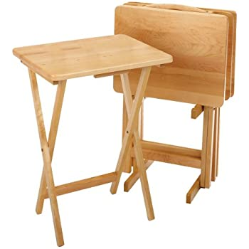 Winsome Wood 42520 Alex Snack Table Natural Set 5 Pc  sc 1 st  Amazon.com : 5 piece snack tray table set - pezcame.com