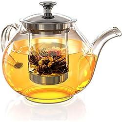 Glass Tea Pot Set - Loose Leaf Tea Pot with Infuser and Lid - Teapot with Strainer - Tea maker 27 oz