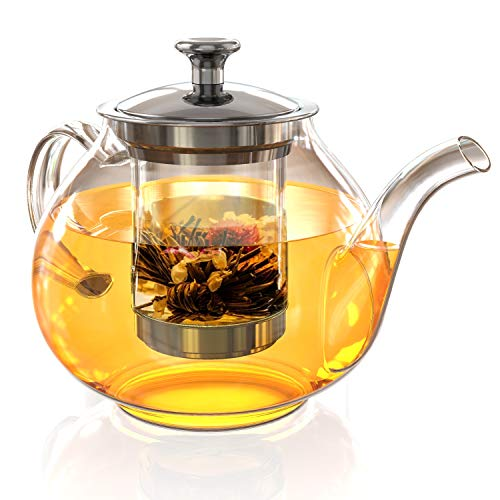 Glass Tea Pot Set - Loose Leaf Tea Pot with Infuser and Lid - Teapot with Strainer - Tea maker 27 oz
