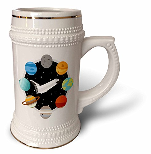 3dRose Janna Salak Designs Outer Space - Space Shuttle and Solar System - 22oz Stein Mug (stn_283592_1) by 3dRose